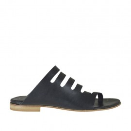 Woman's thong mules with sidecuts in black leather heel 1 - Available sizes:  42, 44