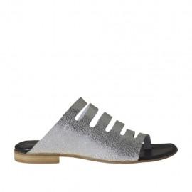 Damenzehenpantolette aus silberlaminiertem Leder Absatz 1 - Verfügbare Größen:  34, 43, 44