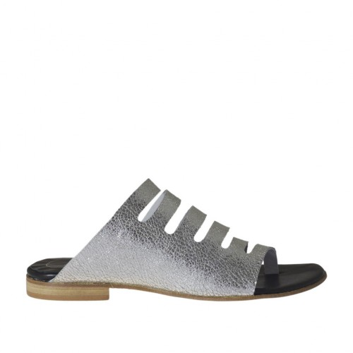 Woman's thong mules with sidecuts in silver laminated leather heel 1 - Available sizes:  33, 34, 43, 44