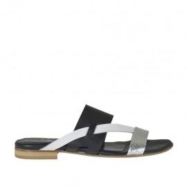 Damenzehenpantolette aus weissem, schwarzem und silberlaminiertem Leder Absatz 1 - Verfügbare Größen:  42, 43