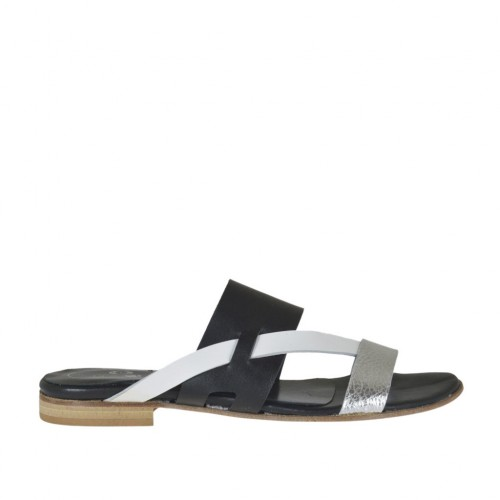 Woman's thong mule in black, white and silver laminated leather heel 1 - Available sizes:  34, 42, 43