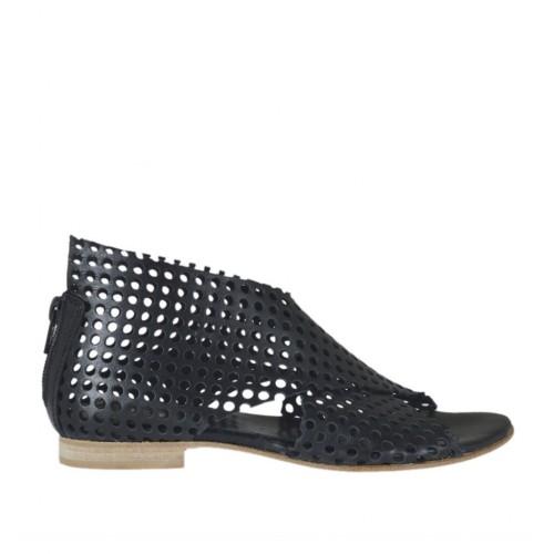 Chaussure ouvert pour femmes avec fermeture éclair en cuir perforé noir talon 1 - Pointures disponibles: