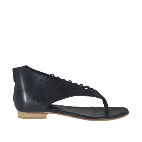 Woman's thong open shoe with laces and zipper in black leather heel 1 - Available sizes:  42, 43