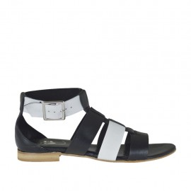 Woman's open shoe with strap in black and white leather heel 1 - Available sizes: 33, 34, 42, 43, 44, 45