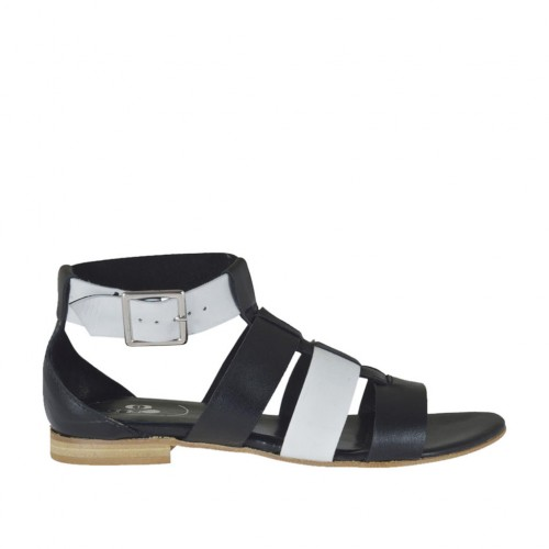 Woman's open shoe with strap in black and white leather heel 1 - Available sizes:  42, 43, 44, 45