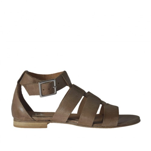 Woman's open shoe with strap in taupe leather heel 1 - Available sizes:  43, 44, 45