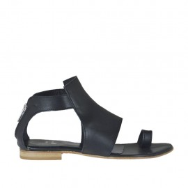 Woman's thong open shoe with zipper in black leather heel 1 - Available sizes: 33, 34, 42, 43, 44, 45