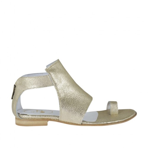Woman's thong open shoe with zipper in platinum laminated leather heel 1 - Available sizes:  33, 34, 42