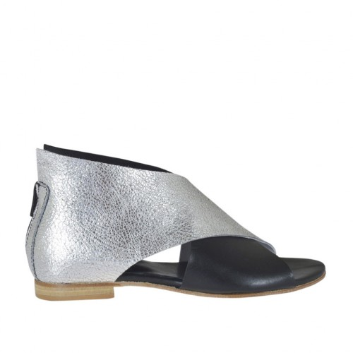Woman's open shoe with zipper in black and silver laminated leather heel 1 - Available sizes: 33, 34, 42, 43, 44