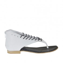 Woman's thong open shoe with laces and zipper in white leather heel 1 - Available sizes: 33, 34, 42, 43, 44, 45