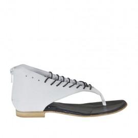 Zapato infradedo abierto con cordones y cremallera en piel de color blanca tacon 1 - Tallas disponibles: 33, 34, 42, 43, 44, 45