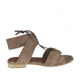 Sandalo stringato da donna in camoscio taupe tacco 1 - Misure disponibili: 33, 34, 42, 43, 44, 45