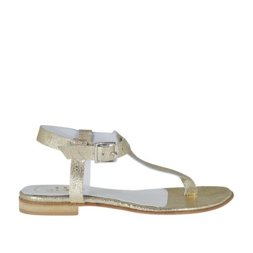 Woman's thong sandal with strap in platinum laminated leather heel 1 - Available sizes:  43
