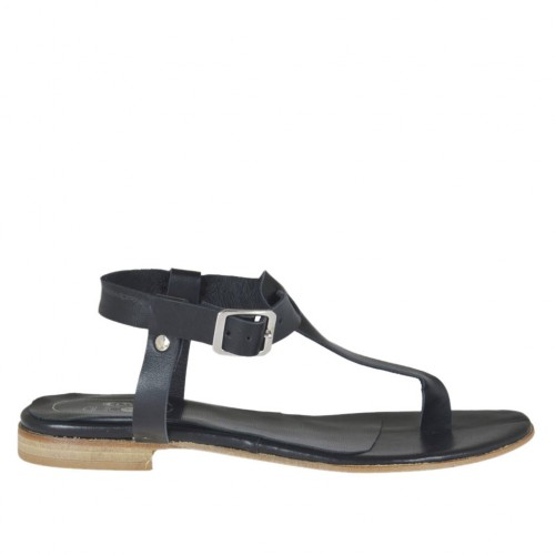 Woman's thong sandal with strap in black leather heel 1 - Available sizes:  34, 42, 43, 44