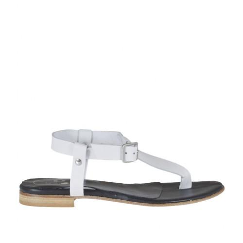 Sandalo infradito da donna con cinturino in pelle bianca tacco 1 - Misure disponibili: 33, 34, 42, 43, 44, 45