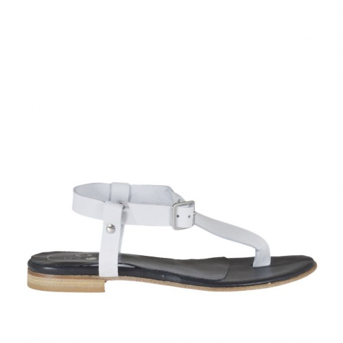 Woman's thong sandal with strap in white leather heel 1 - Available sizes:  43, 44