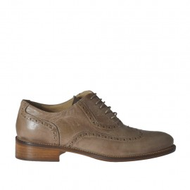 Woman's laced Oxford shoe in taupe leather heel 2 - Available sizes: 33, 34, 42, 43, 44, 45