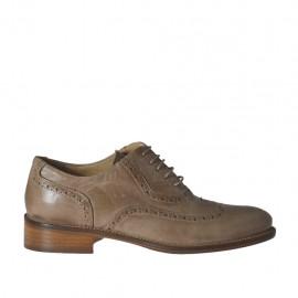 Zapato oxford para mujer con cordones en piel gris pardo tacon 2 - Tallas disponibles: 33, 34, 42, 43, 44, 45