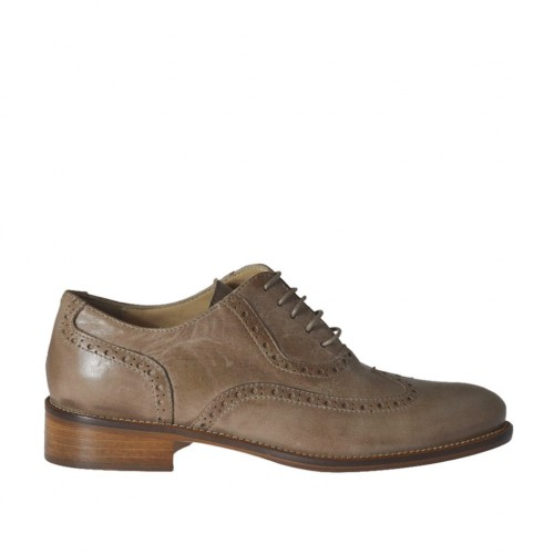 Woman's laced Oxford shoe in taupe leather heel 2 - Available sizes:  43, 44, 45