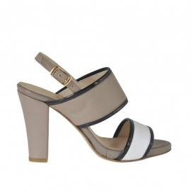 Woman's sandal with platform in white and taupe leather and black patent leather heel 9 - Available sizes: 31, 32, 33, 34, 42, 43, 44, 45, 46, 47