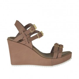 Woman's platform sandal with adjustable straps and buckles in taupe leather wedge 8 - Available sizes: 31, 32, 33, 34