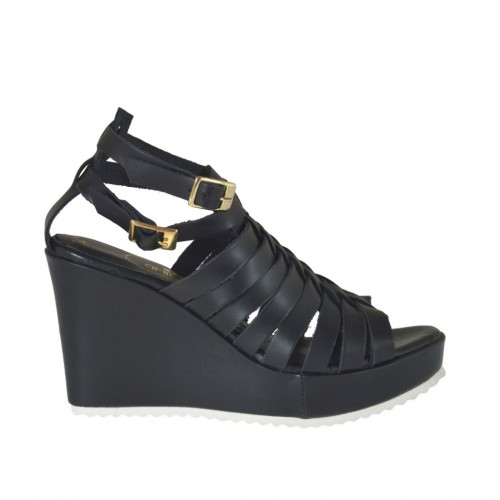 Woman's platform strap sandal with intertwined straps in black leather wedge 8 - Available sizes:  31, 32, 34