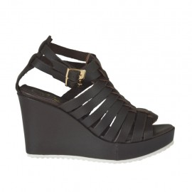 Woman's platform strap sandal with intertwined straps in dark brown leather wedge 8 - Available sizes: 31, 32, 33, 34