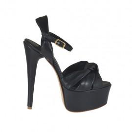 Sandalo con cinturino da donna con plateau in pelle nera tacco 13 - Misure disponibili: 31, 32, 33, 34, 42, 45, 46