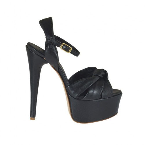 Woman's strap sandal with platform in black leather heel 13 - Available sizes:  31, 33, 34, 45, 46