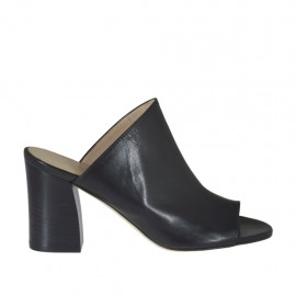 Woman's open mules in black leather heel 7 - Available sizes:  32, 33, 34, 43