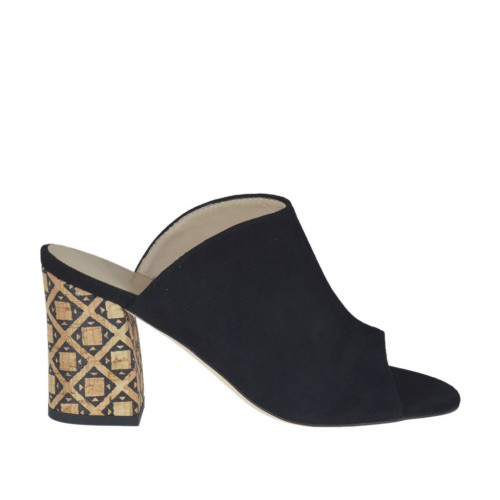 Woman's open mules in black suede with printed cork heel 7  - Available sizes:  33, 34, 44, 46