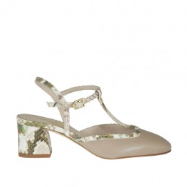 Slingback pump with t-strap in taupe leather and beige printed leather heel 5 - Available sizes:  32, 33, 34, 42, 43, 44, 45, 46