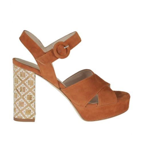 Woman'sandal in tan brown suede with strap, platform and heel 9 in printed cork - Available sizes:  42, 45