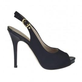 Sandalia para mujer con plataforma en tejido negro tacon 10 - Tallas disponibles: 31, 32, 33, 34, 42, 43, 44, 45