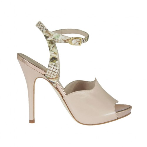 Woman's strap sandal in powder rose leather and beige printed leather with platform and heel 10 - Available sizes:  31, 32, 33, 34, 42, 45