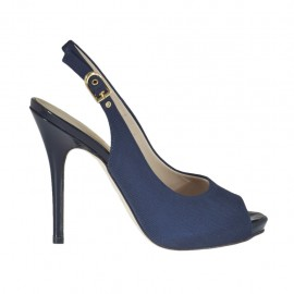 Woman's sandal with platform in blue fabric heel 10 - Available sizes: 31, 32, 33, 34, 42, 43, 44, 45