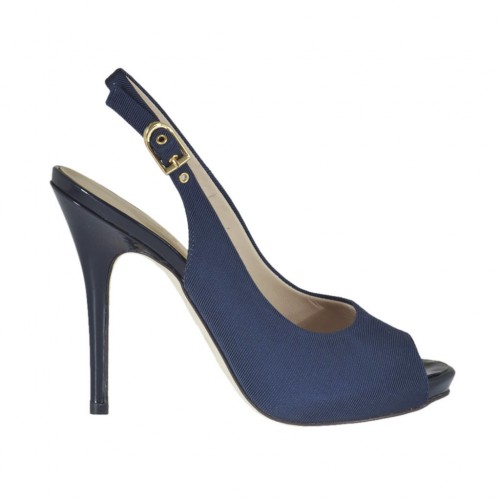 Woman's sandal with platform in blue fabric heel 10 - Available sizes:  31, 32, 33