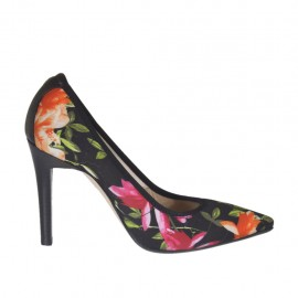 Woman's pump in black elastic fabric with floral print and black leather heel 9 - Available sizes: 31, 33, 34, 42, 43, 44, 45, 46