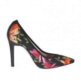 Zapato de salon para mujer en tejido elastico negro estampado floreal y piel negra tacon 9 - Tallas disponibles:  31, 42, 43, 44