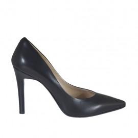 Zapato de salon a punta para mujer en piel negra tacon 9 - Tallas disponibles:  31, 46
