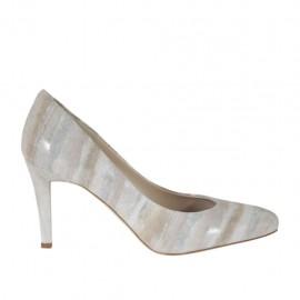Zapato de salon para mujer en gamuza imprimida laminada gris pardo, blanco y plateado tacon 8 - Tallas disponibles:  31, 33, 34, 42, 43