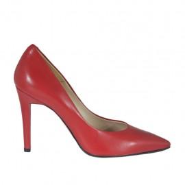 Decolté da donna in pelle rossa con tacco 9 - Misure disponibili: 31, 32, 33, 34, 42, 43, 44, 45, 46