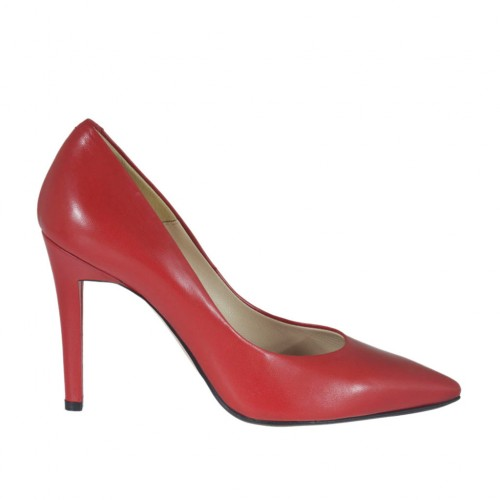 Woman's pump shoe in red leather heel 9 - Available sizes:  44