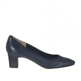 Zapato de salon en piel azul oscuro tacon 5 - Tallas disponibles:  31, 34, 43, 44, 45, 46