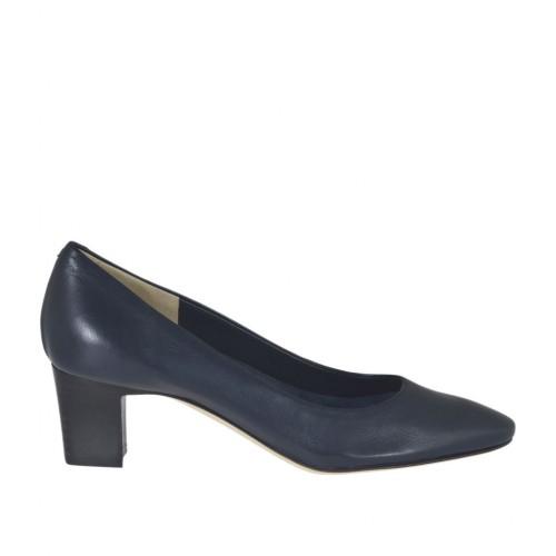 Escarpin pour femmes en cuir bleu foncé talon 5 - Pointures disponibles:  31, 34, 43, 44, 46