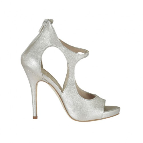 Woman's open platform pump with zipper and elastic band in platinum laminated leather heel 10 - Available sizes:  31, 32, 34, 42, 44, 45