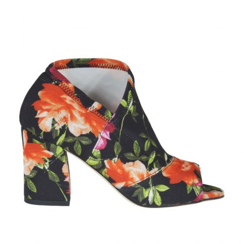 Woman's open shoe in black elastic fabric with floral print heel 6 - Available sizes:  31, 33, 34