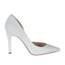Zapato de salon para mujer con corte lateral en piel blanca tacon 9 - Tallas disponibles:  31, 32, 33, 34, 42, 43, 44, 45, 46