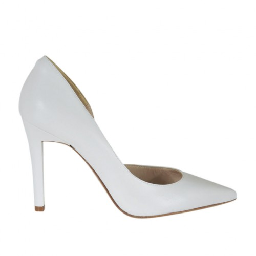 Woman's pump with sidecut in white leather heel 9 - Available sizes:  31, 32, 33, 34, 43, 46