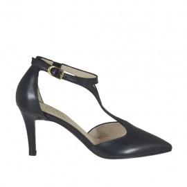 Zapato abierto para mujer con elastico y cinturon salomé en piel de color negro tacon 7 - Tallas disponibles: 31, 32, 33, 34, 42, 43, 44, 45, 46